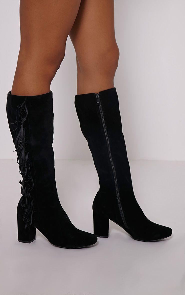 Shaia Black Fringed Knee High Boots 1