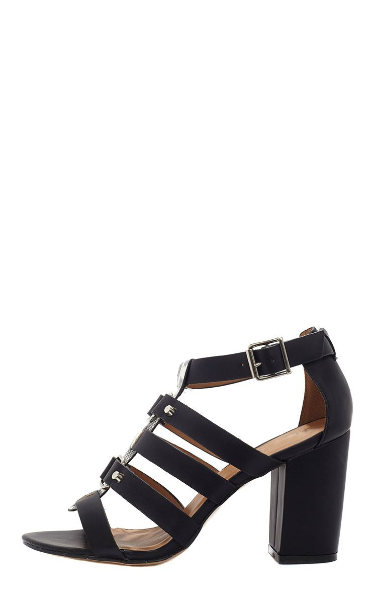 Anais Black Gladiator Snake Strap Heeled Sandal  1