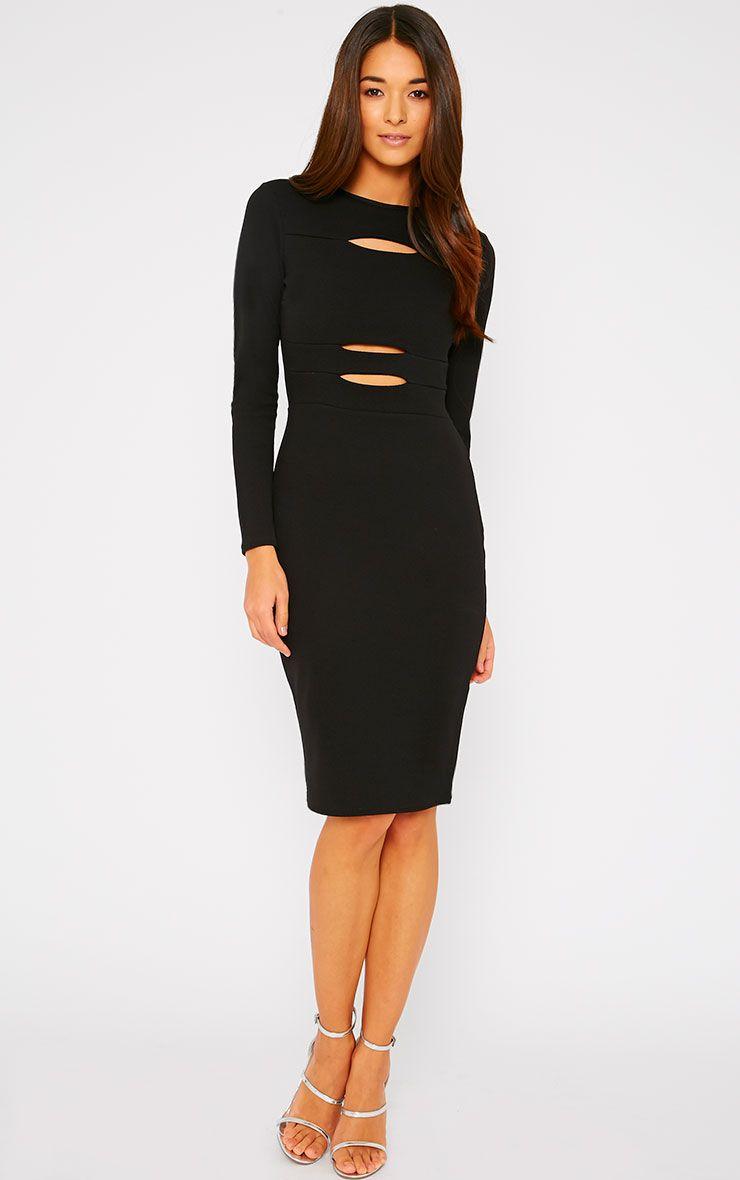 Rhia Black Long Sleeve Slash Front Midi Dress 1