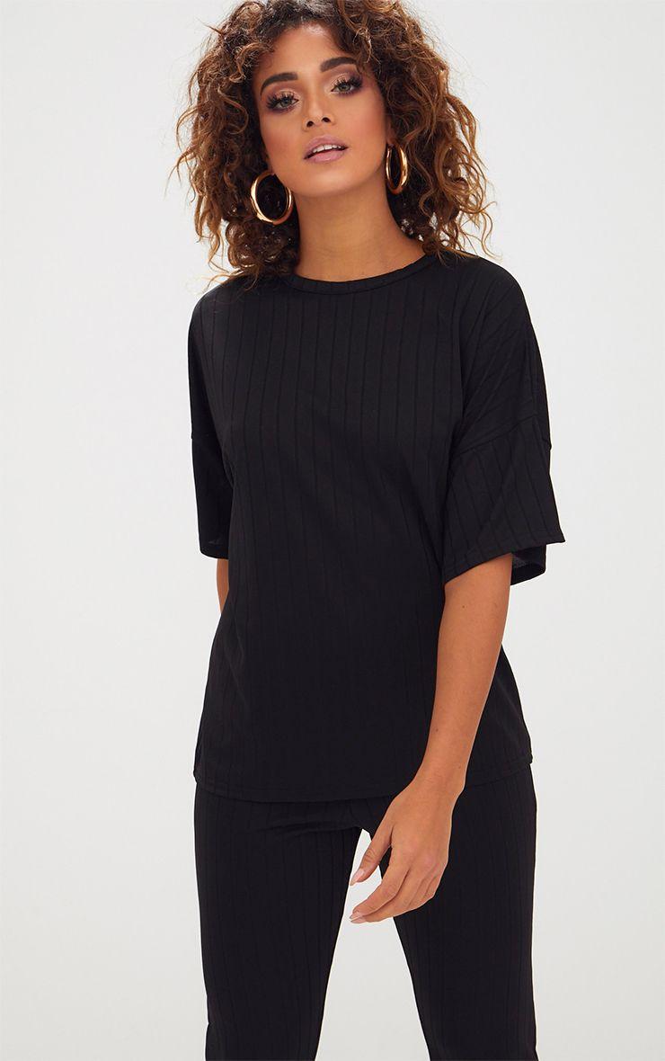T-shirt surdimensionné à côtes larges noir 1