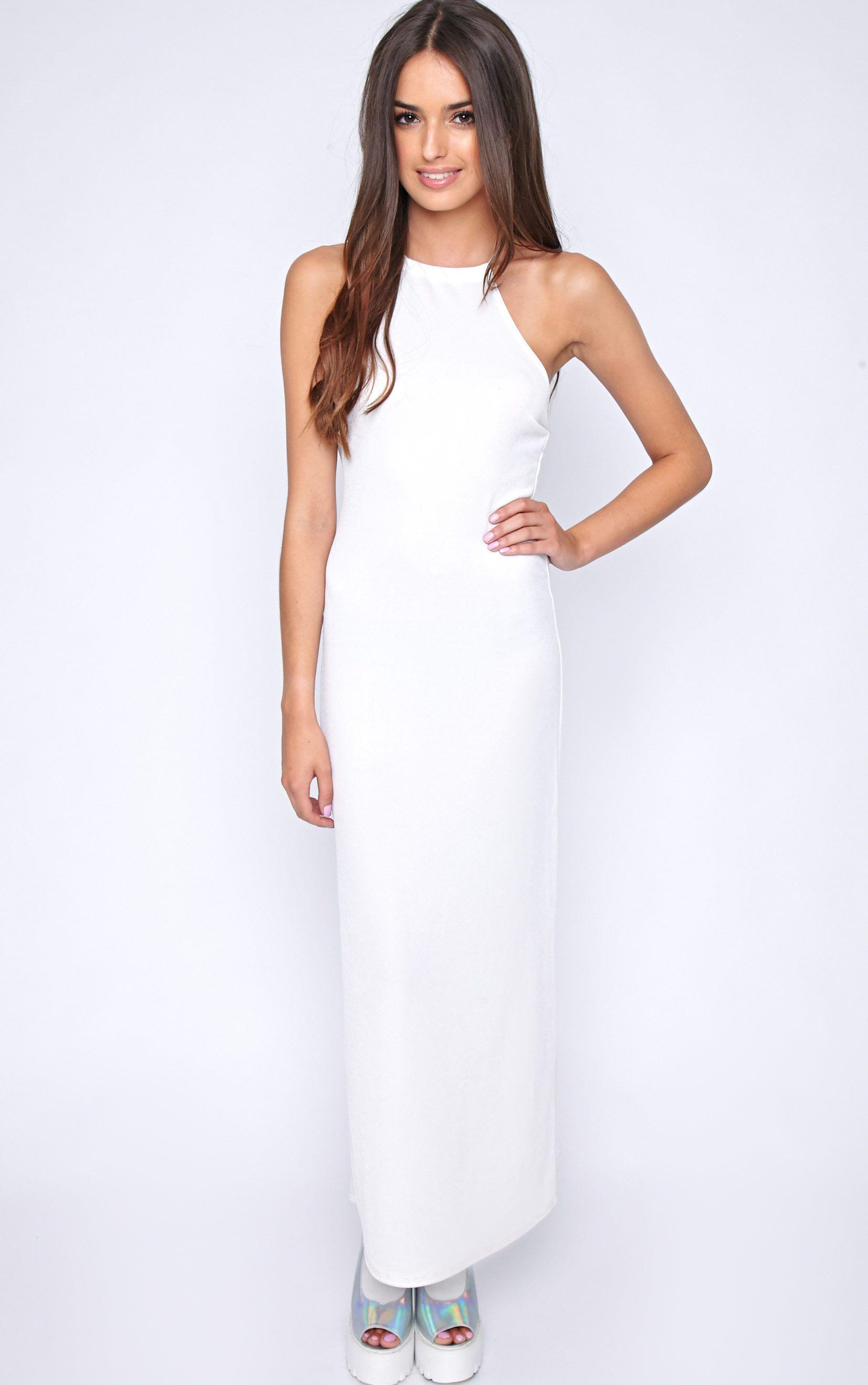 Becca White Cross Back Maxi Dress 1