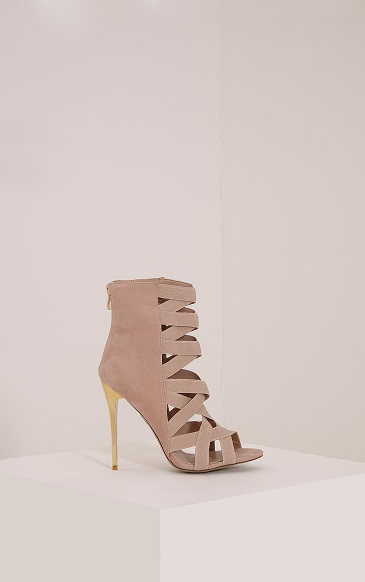Noelle Nude Elastic Detail Heeled Sandals