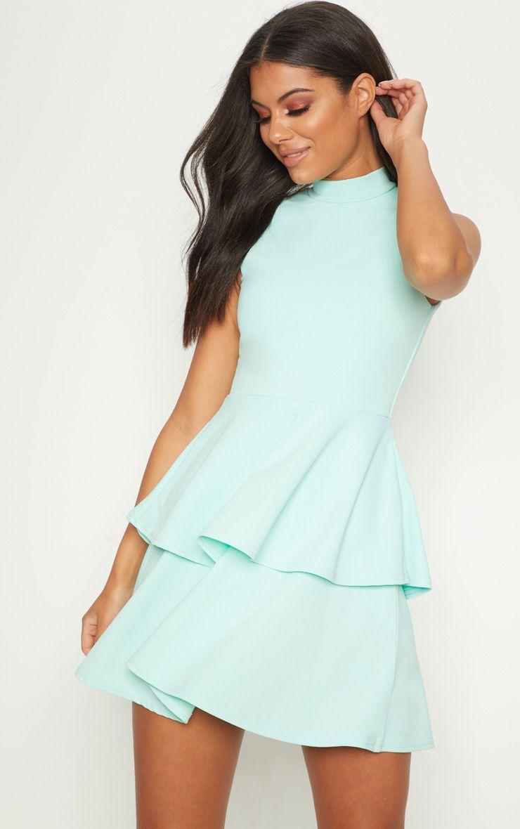 Mint Sleeveless Shoulder Pad Detail Tiered Skater Dress 1