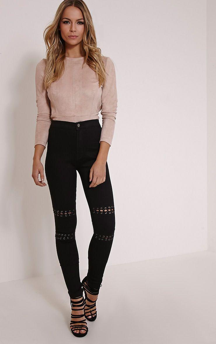 Palmira Black Lace Up Knee Skinny Jean 1