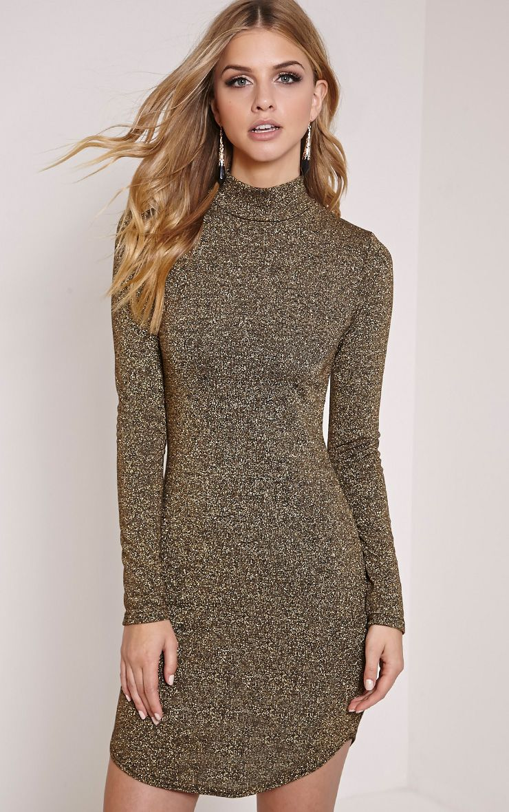 Alby Gold Shimmer Curve Hem High Neck Dress 1