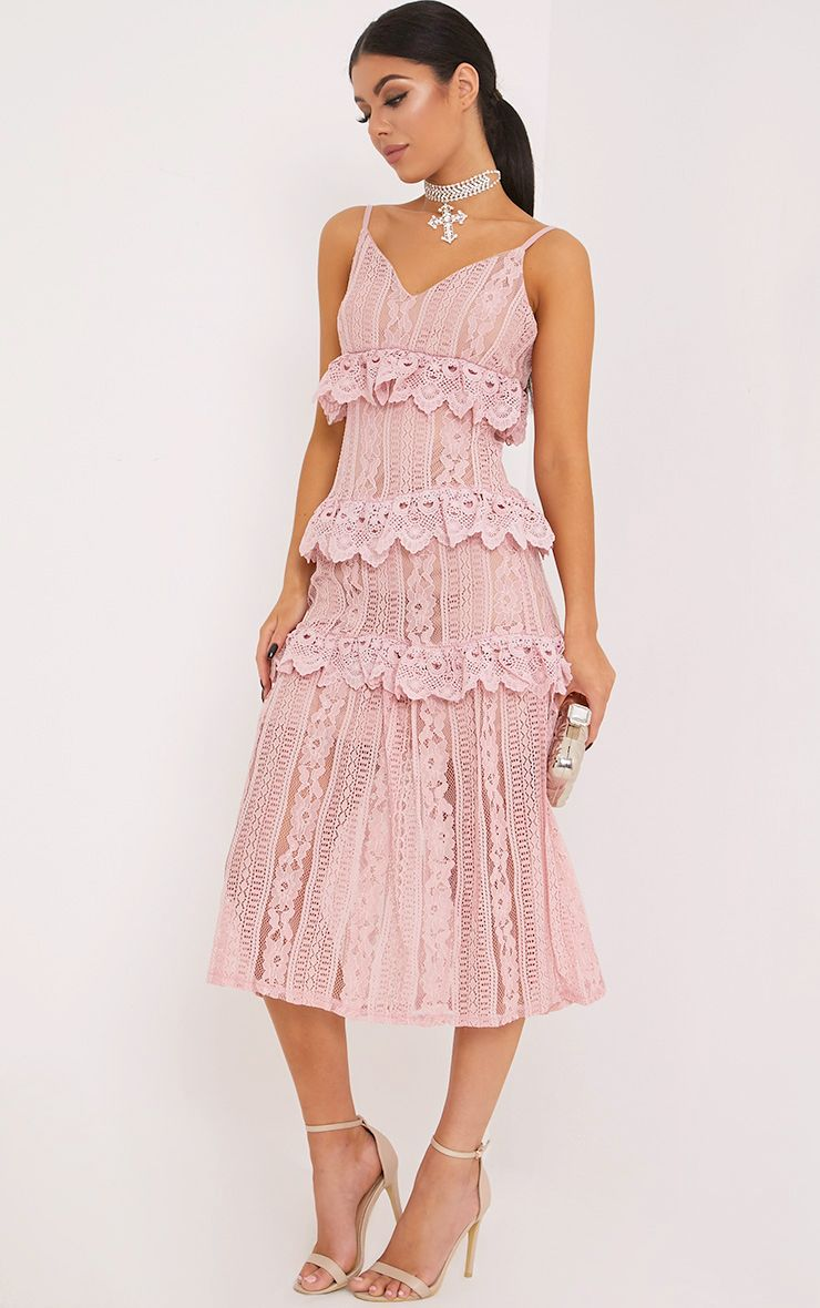 Remi Nude Lace Tiered Midi Dress