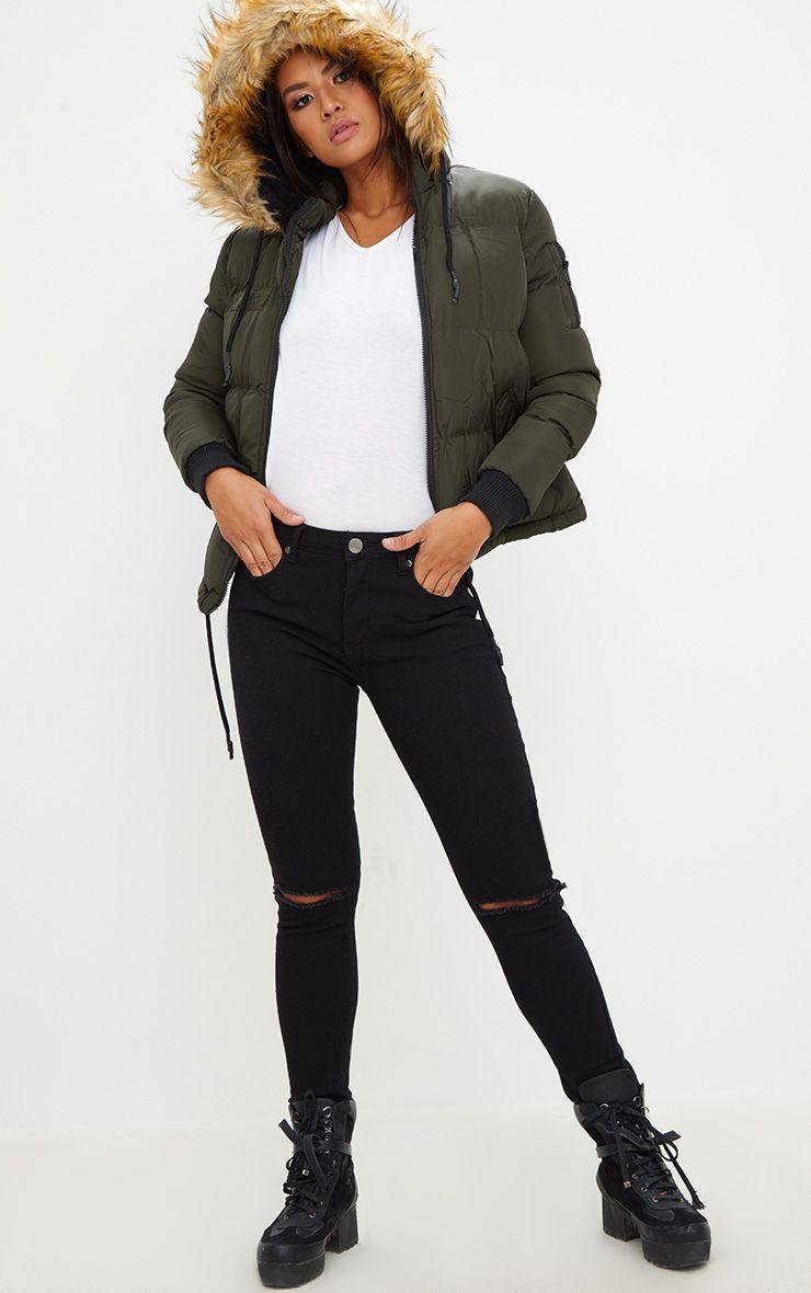 Khaki Puffer Jacket with Faux Fur Hood
