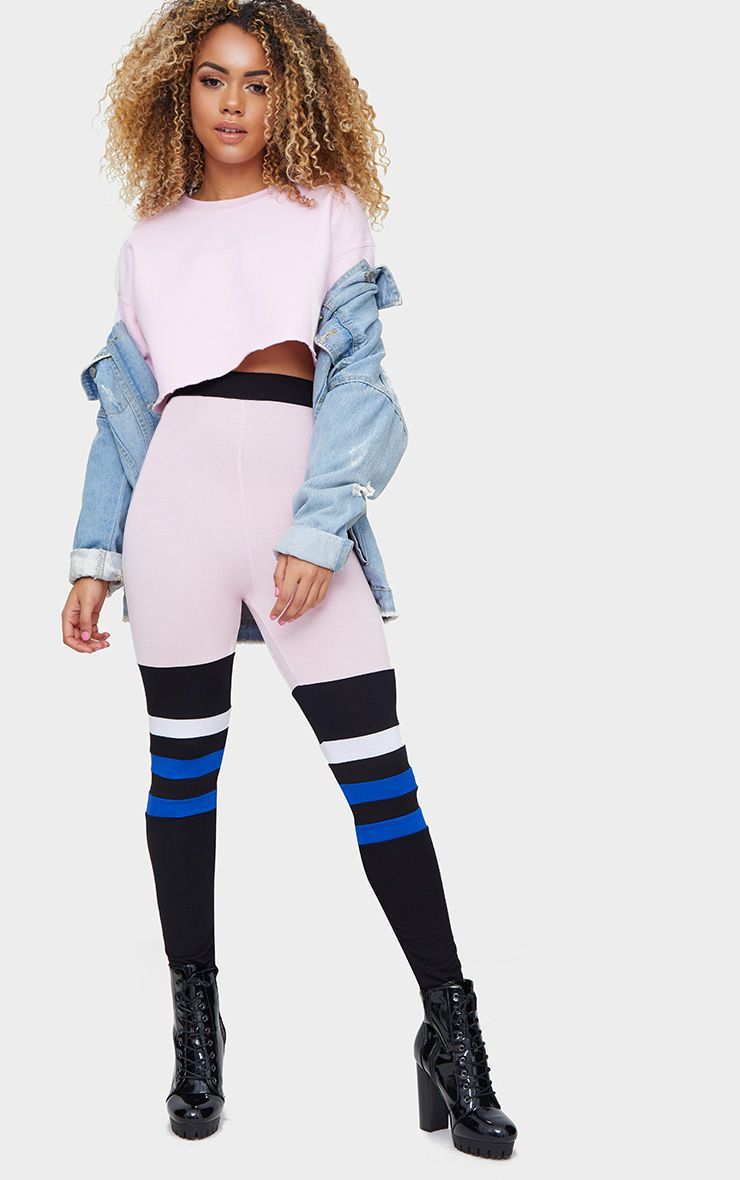 Pink Jersey Colourblock Stripe Leggings