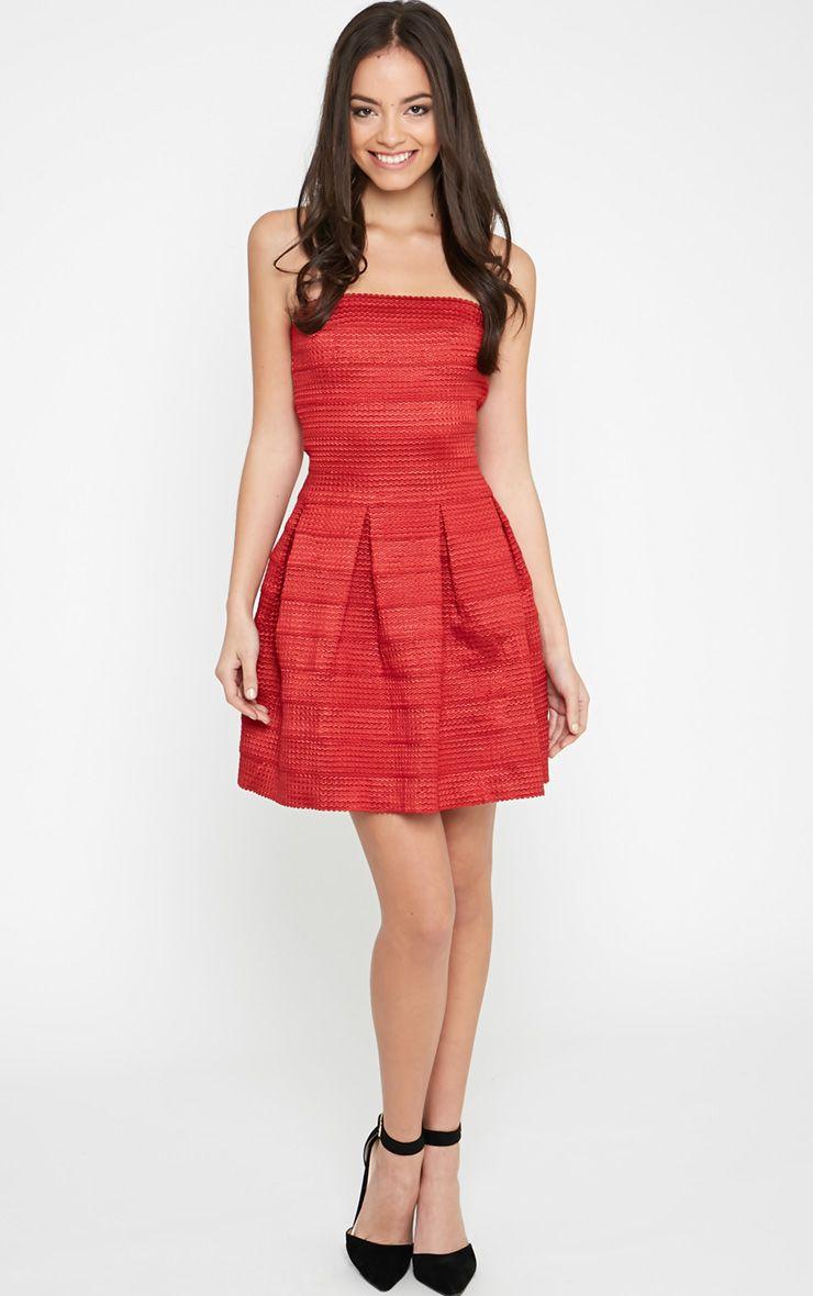 Dolly Red Structured Bandage Skater Dress 1