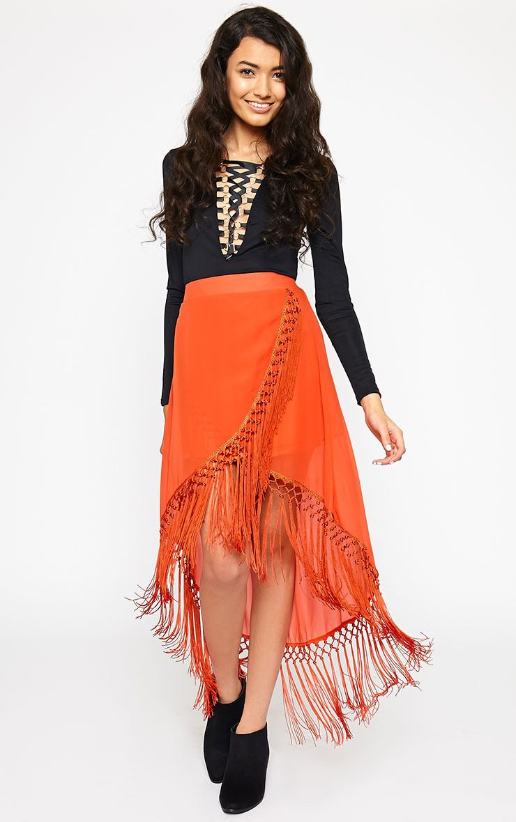 Sonja Orange Wrap Tassel Midi Skirt 1