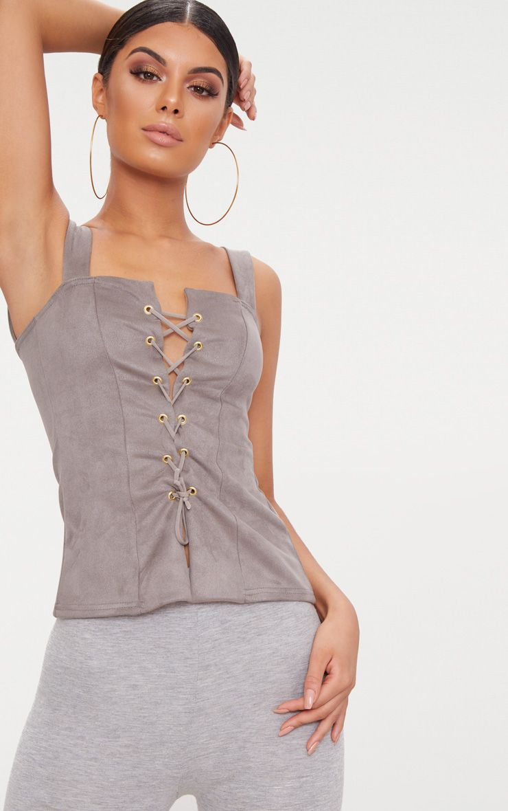 Mushroom Faux Suede Lace Up Top