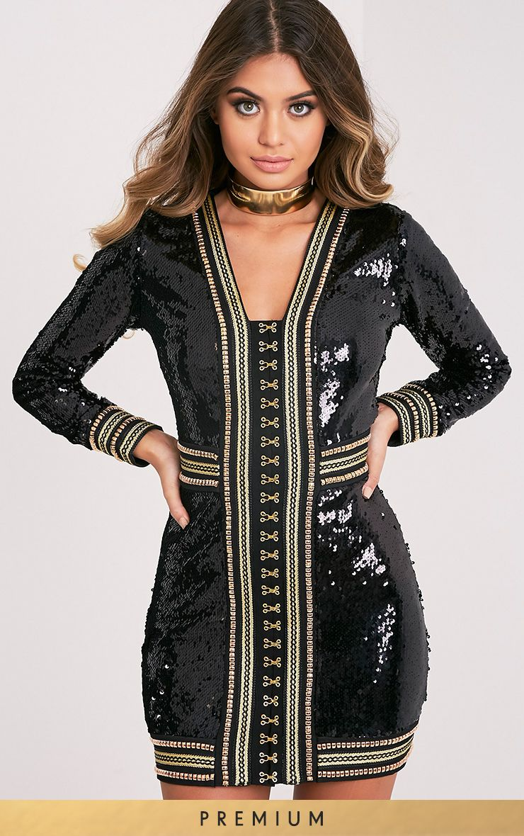 Anisha Black Premium Embellished Sequin Bodycon Dress