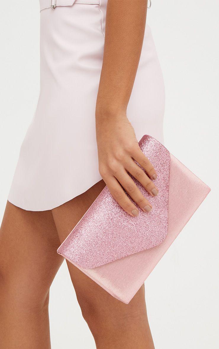 Baby Pink Glitter Envelope Clutch