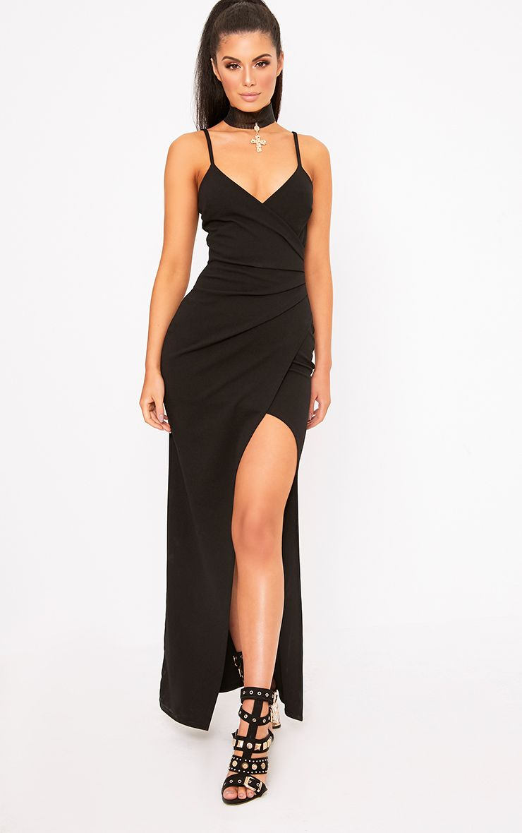 Black Wrap Front Crepe Maxi Dress