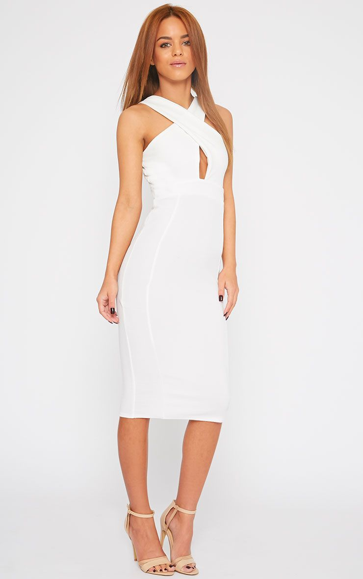 Courtney Cream Cross Front Midi Dress 1