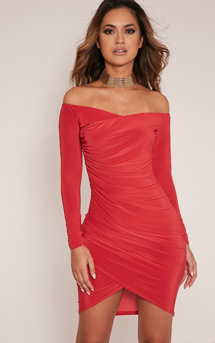 Vanessa Red Ruched Detail Long Sleeve Bodycon Dress 1