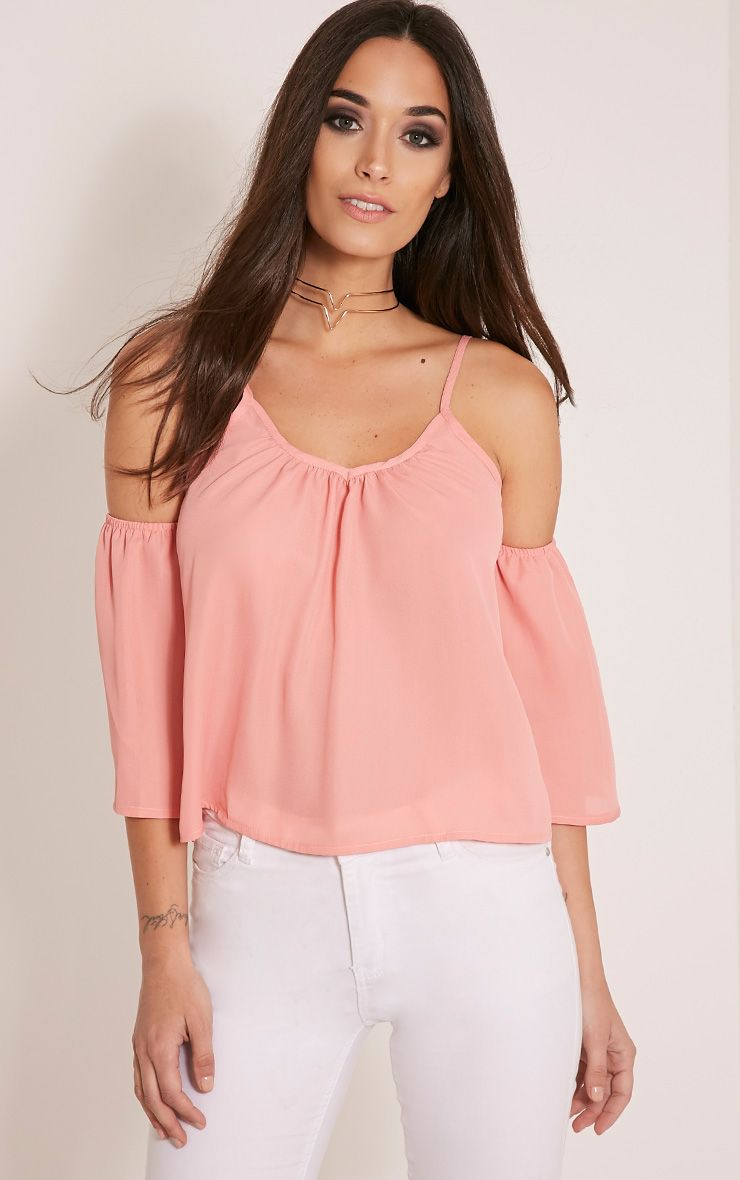 Darla Blush Chiffon Cut Out Shoulder Crop Top 1