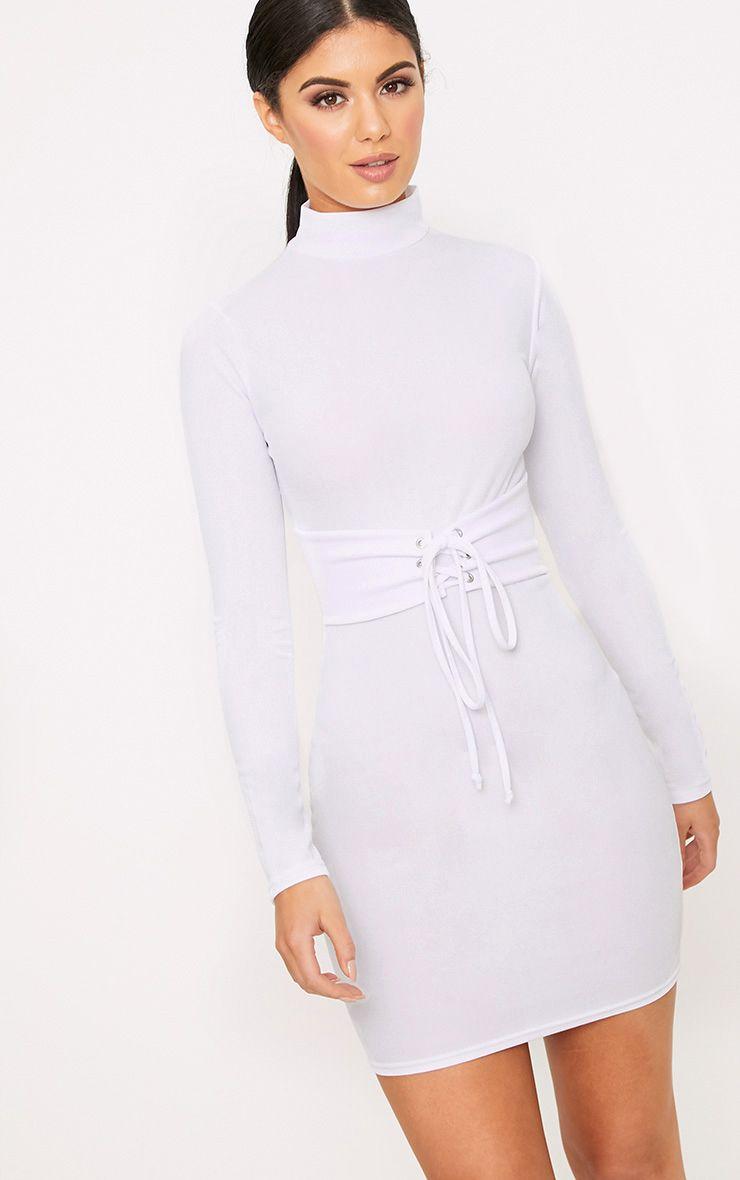 White Martha Corset Detail Bodycon Dress