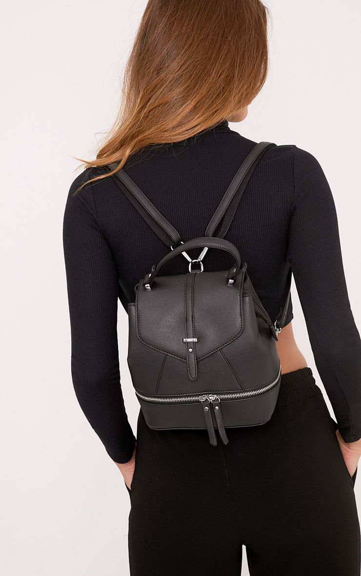 Alexis Black Double Zip Back Pack