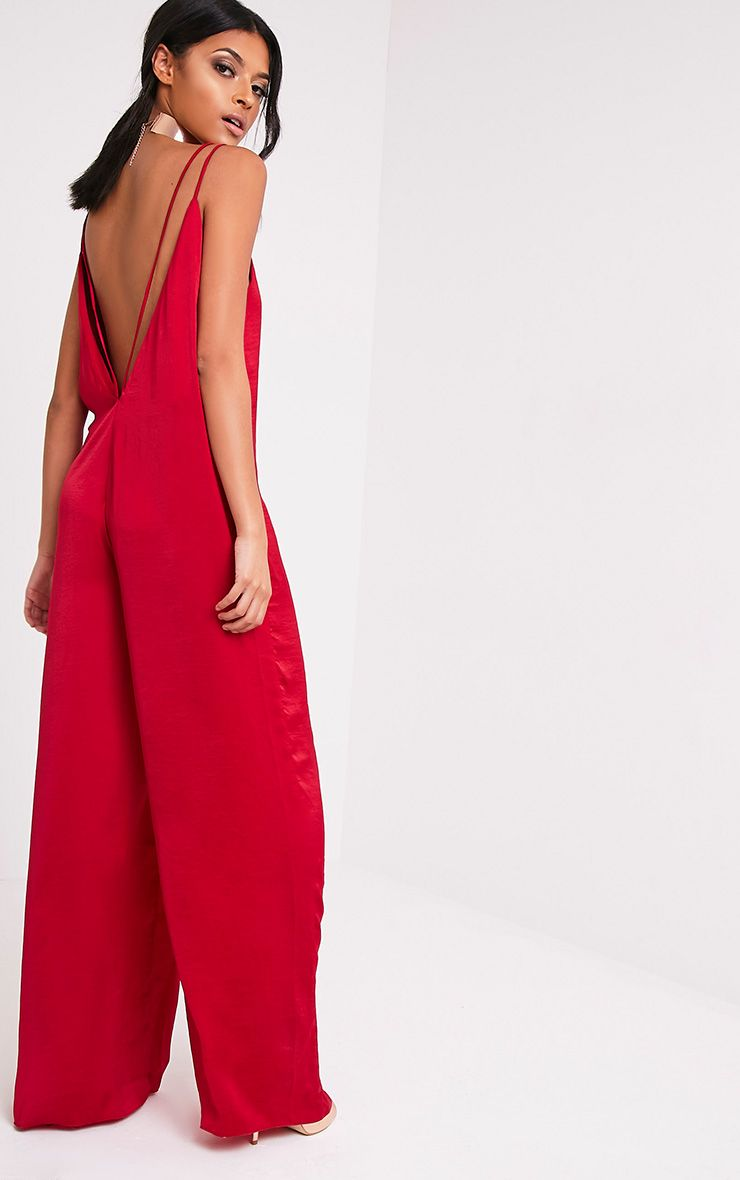Product photo of Elisabeth red oversized satin harness jumpsuit red