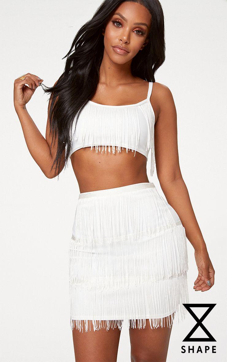 Shape Cream Tassel Mini Skirt