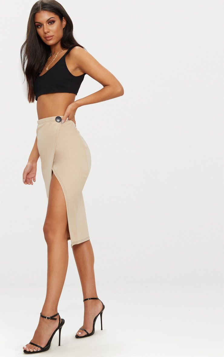 Stone Scuba Contrast Stitch Button Detail Skirt