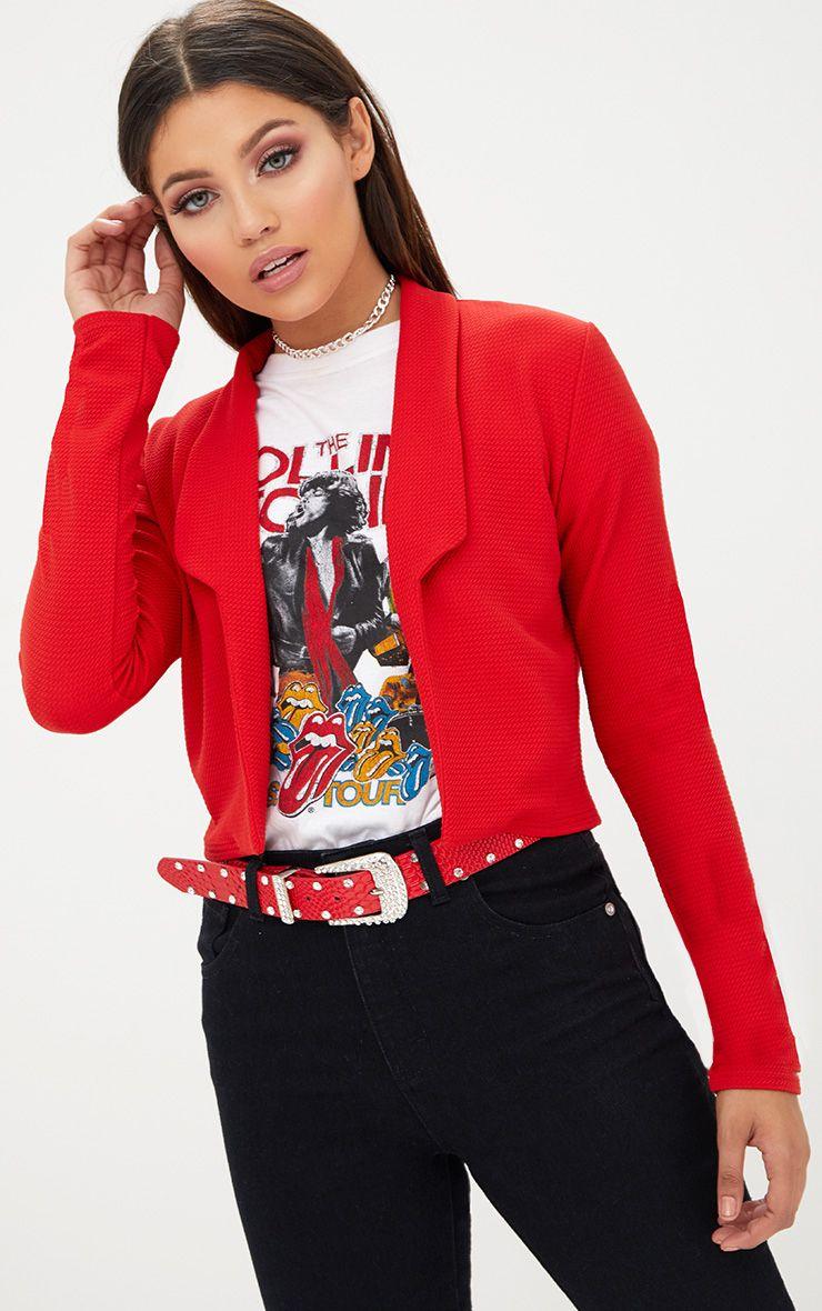 Red Cropped Textured Blazer