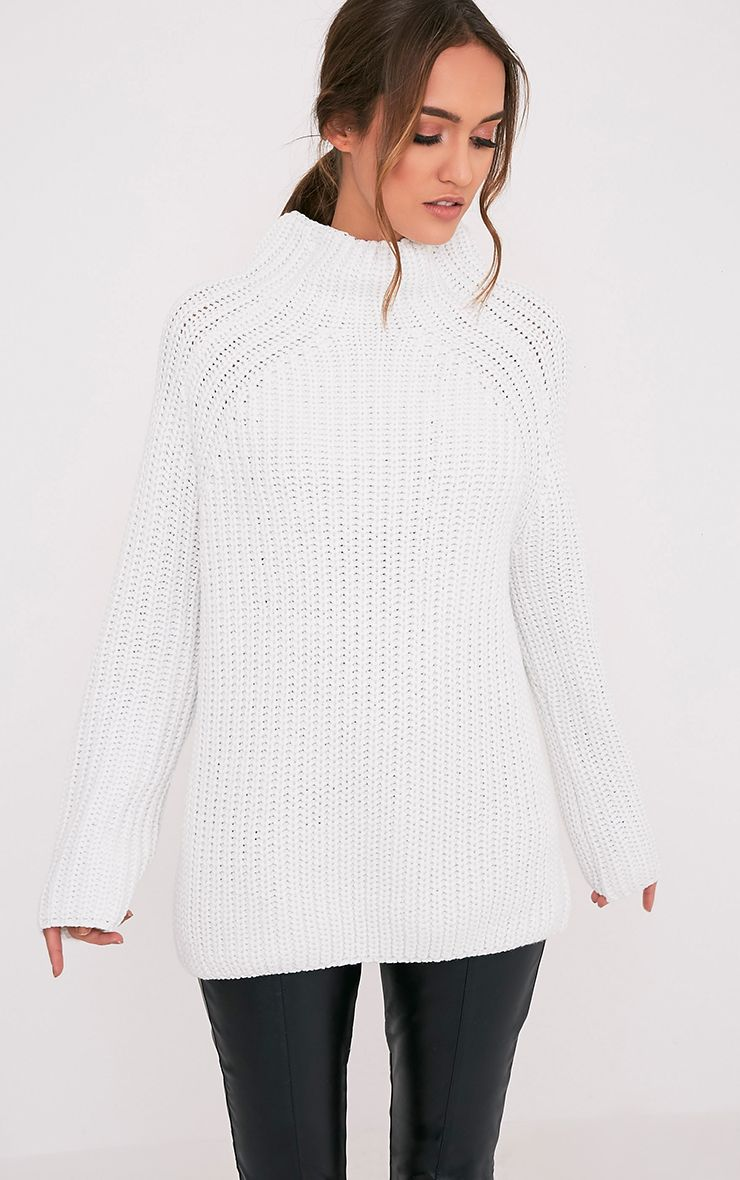 Rheana White Oversized Chunky Knit Jumper
