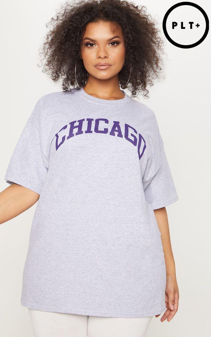 Plus - T-shirt gris à slogan Chicago