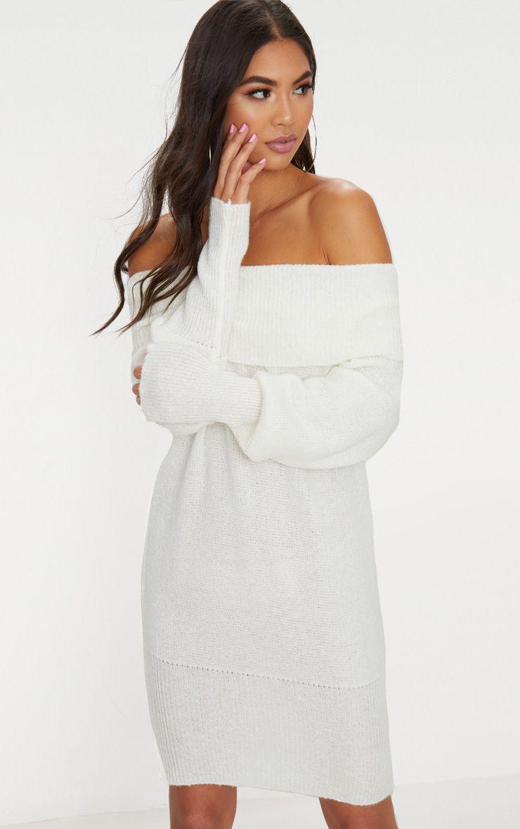 Cream Bardot Soft Knit Jumper Dress