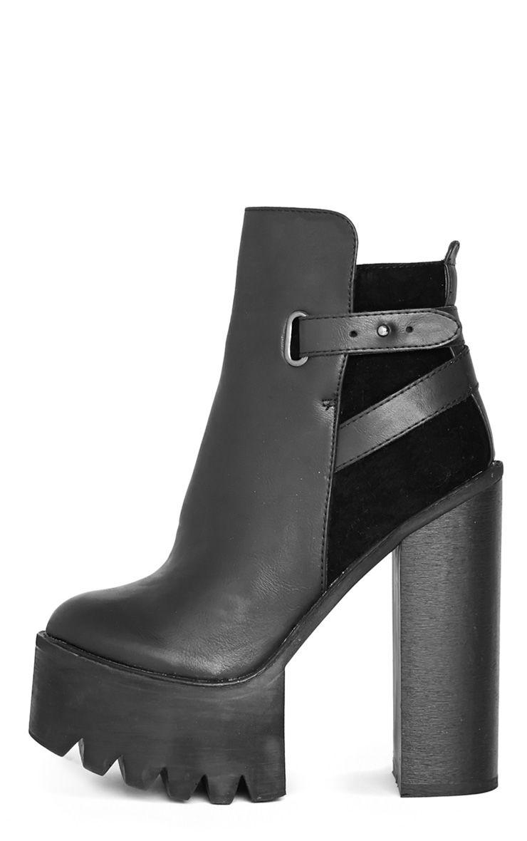 Athena Black Suede Panel Heel Boot  1