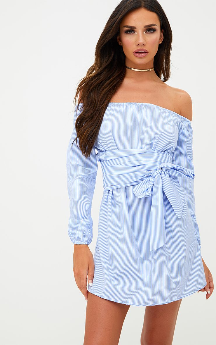 Blue Pinstripe Bardot Tie Waist Shift Dress