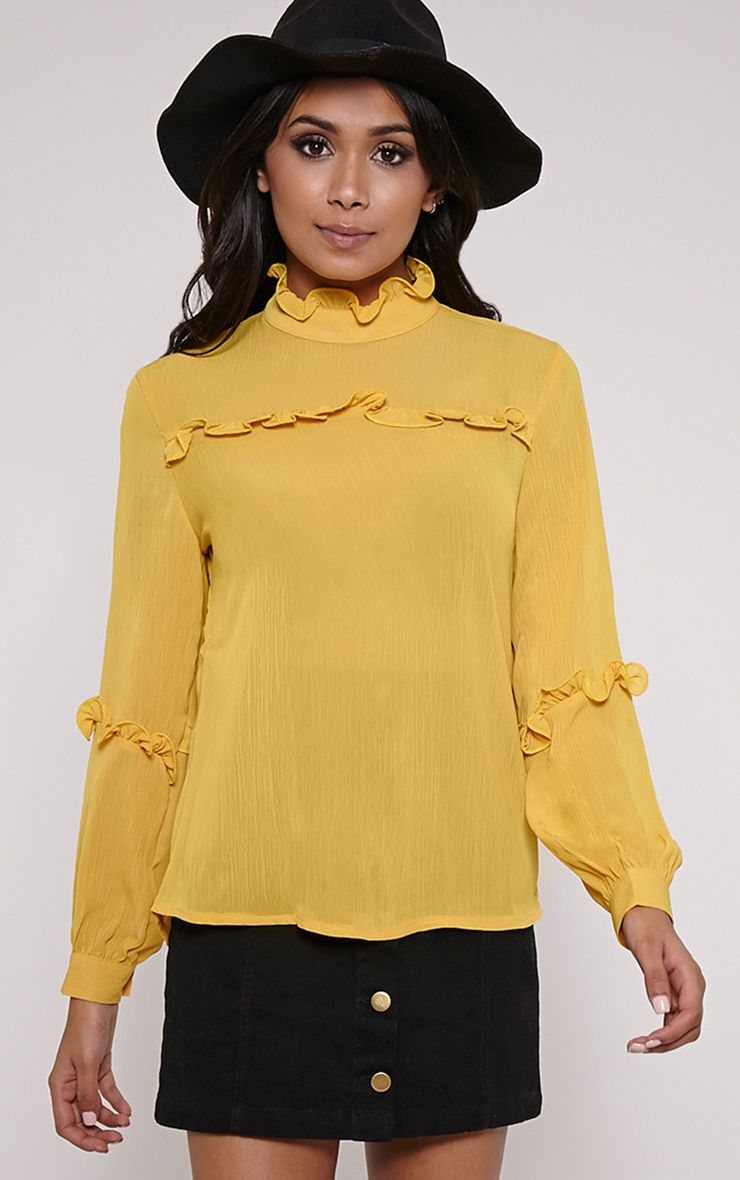 Miracle Mustard Ruffle Detail High Neck Shirt 1