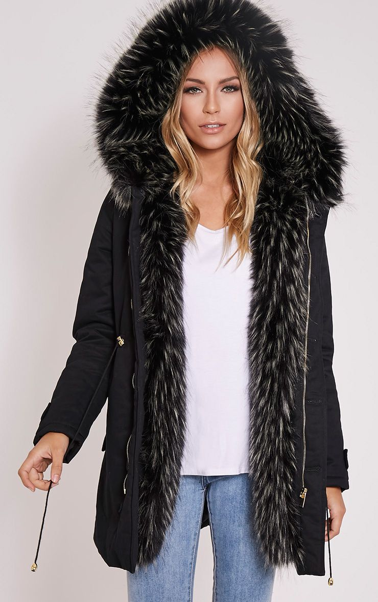 Emmi Black Premium Faux Fur Lined Parka Coat 1