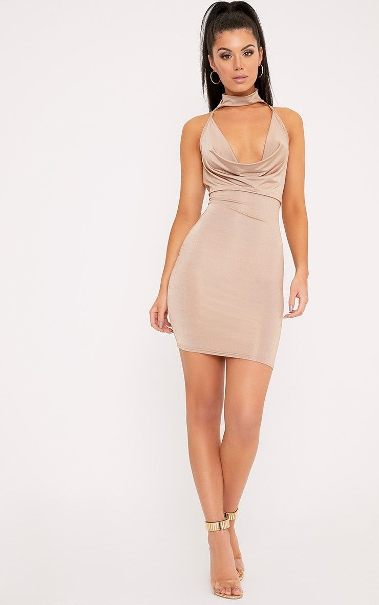 Nude Cowl Neck Cross Back Choker Bodycon Dress Pretty Little Thing