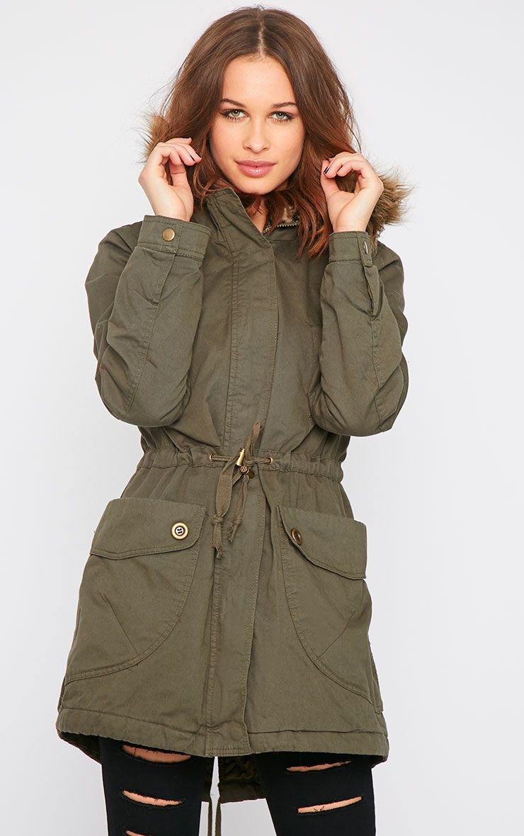 Bridget Khaki Coat With Leopard Lining 1