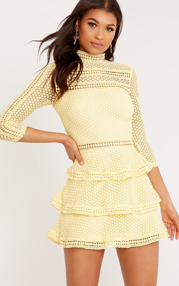 Caya Lemon Lace Panel Tiered Mini Dress