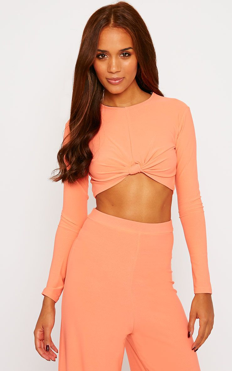 Zafia Orange Knot Front Crepe Crop Top 1