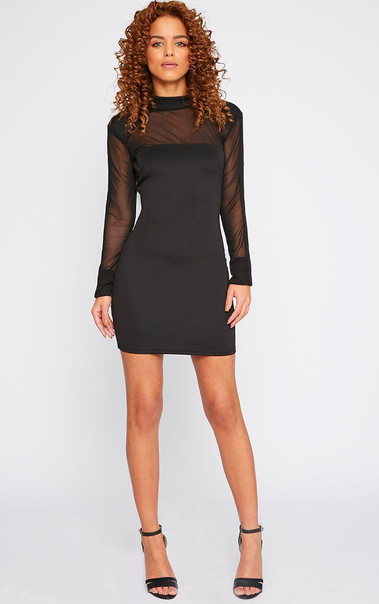 Product photo of Xara black structured mesh panel dress black