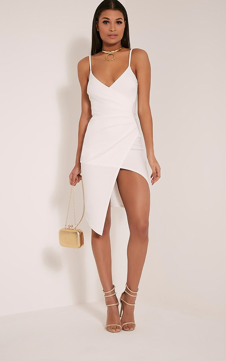 Lauriell White Wrap Front Crepe Midi Dress