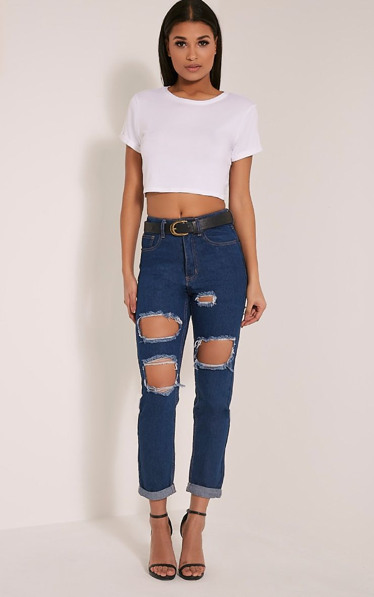 Carley Blue Dark Wash Extreme Rip Boyfriend Jeans