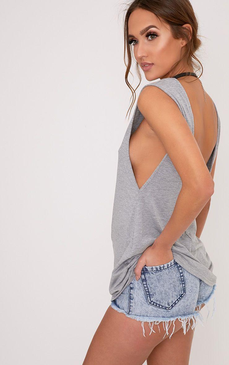 Grey Jersey V Back Longline Vest