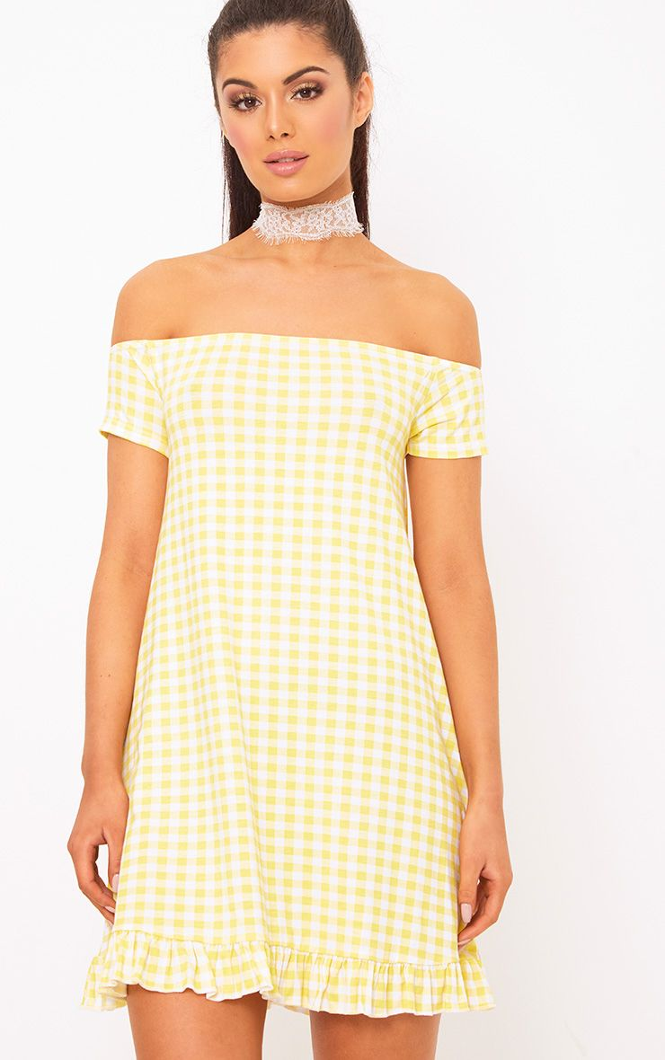 Lemon Gingham Bardot Frill Hem Swing Dress