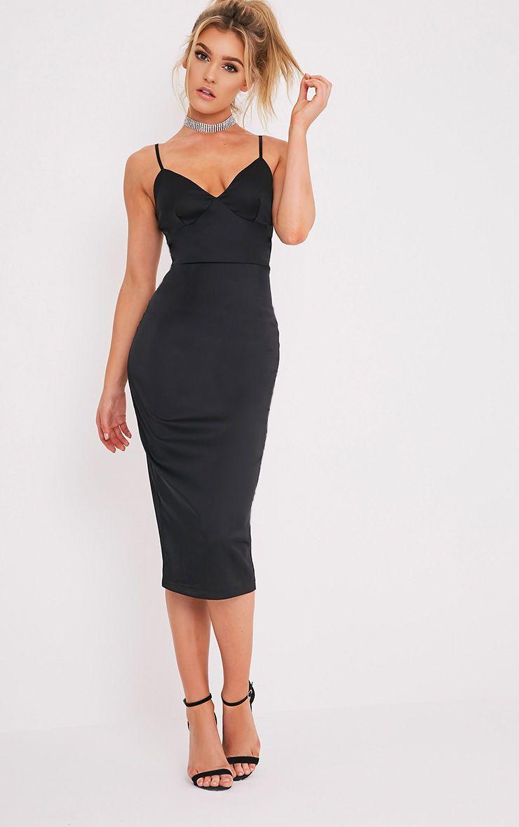 Aisha Black Satin Panel Midi Dress 1