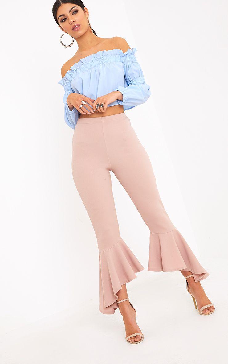 Lourdes Nude Asymmetric Flare Hem Trousers