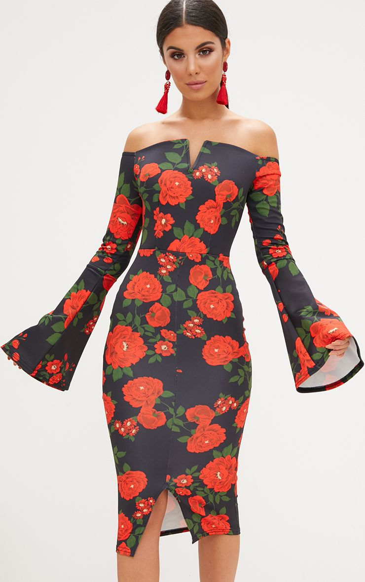 Black Floral Bardot Flared Sleeve Midi Dress
