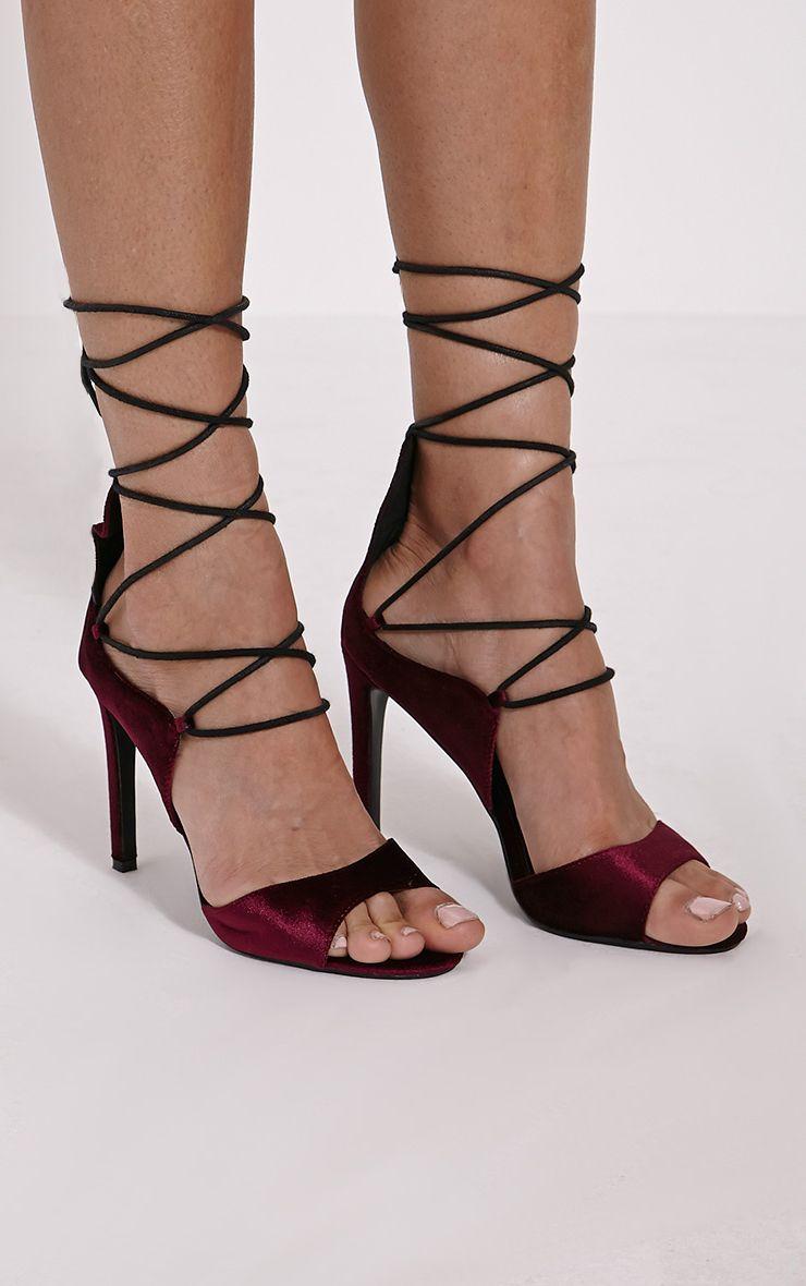 Heidey Burgundy Velvet Lace Up Heels 1