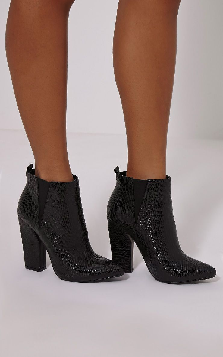 Roma Black Cut Out Heel Ankle Boots 1