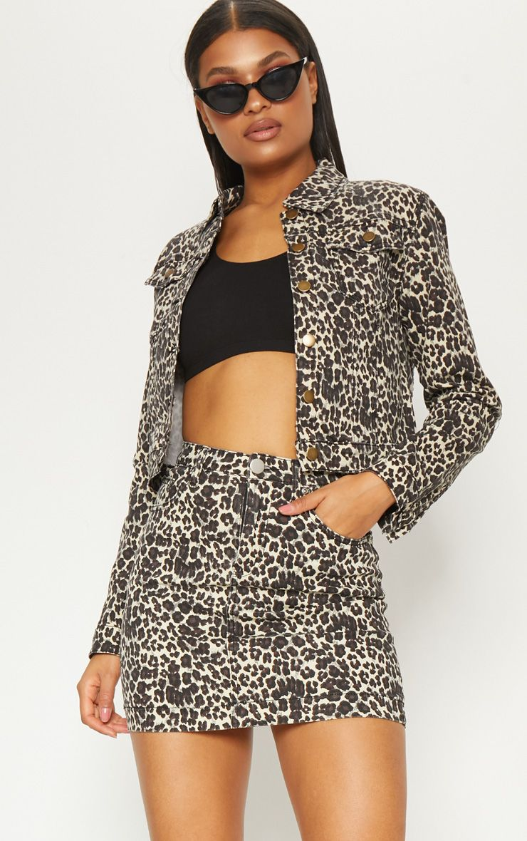 Leopard Cropped Oversized Denim Jacket