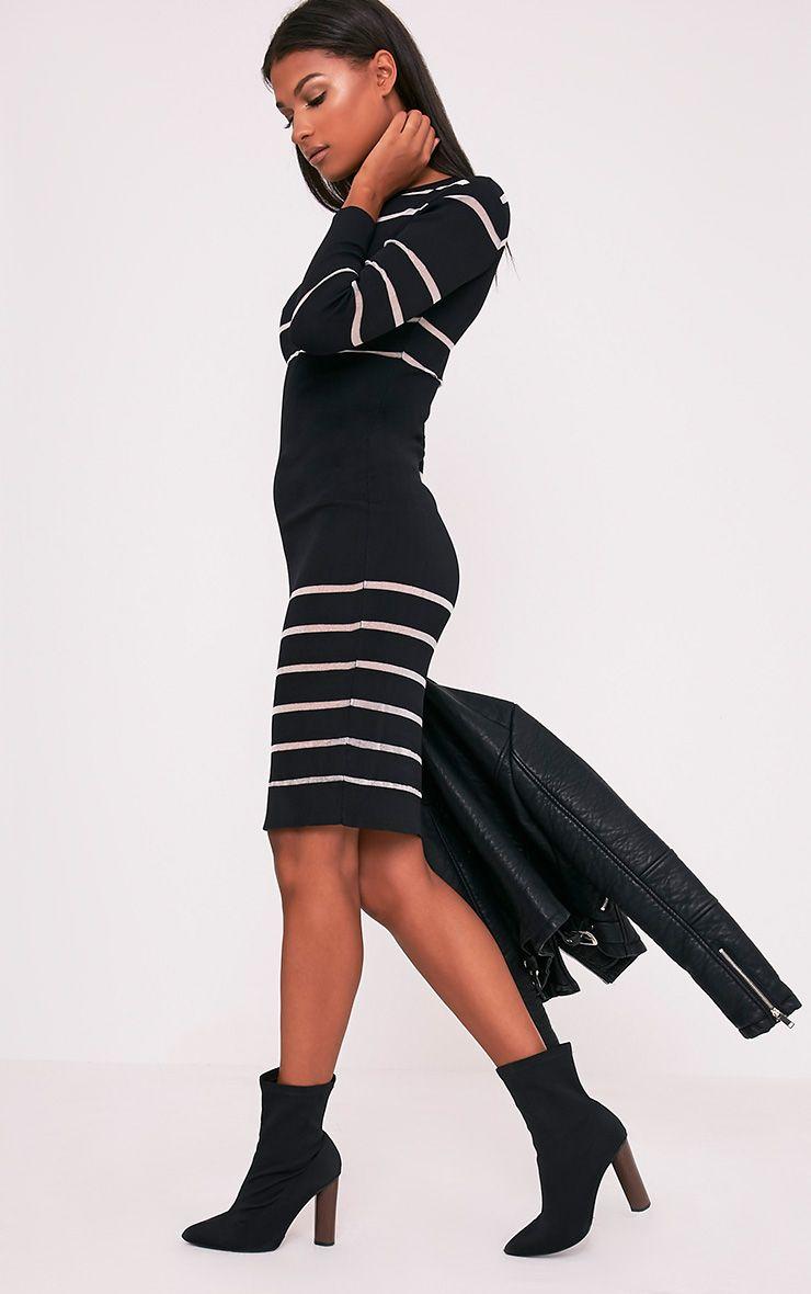 Serene Black Mesh Panel Knitted Midi Dress 4